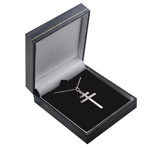 Silver 32x21mm plain Cross of Lorraine with a rolo Chain 24 inches