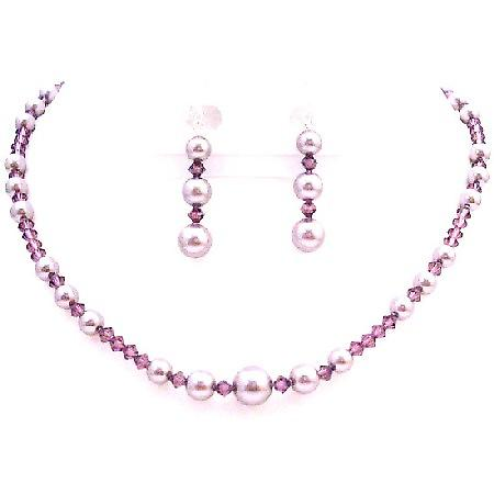 Valentine Jewelry Amethyst February Month Stone Crystals Jewelry Set