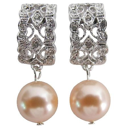 Bridesmaid Earrings Peach Pearl Drop Rhinestones