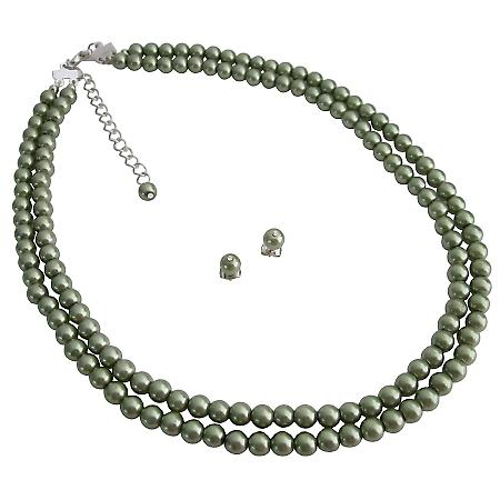 Nice Green Pearl Jewelry Very Elegant Unique Affordable Double Stranded Set