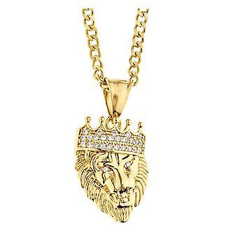 Ha ghiacciato fuori la collana in acciaio Pendente - mini oro re leone