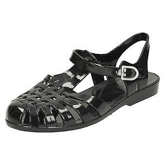 Damer plats på spännde fast gelé sandaler F0711