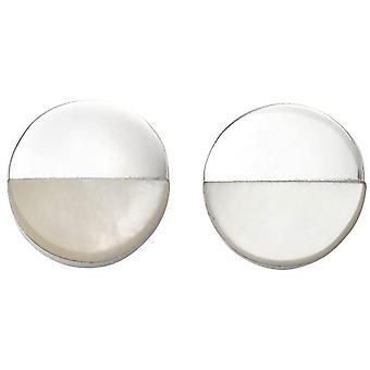 Beginnings Mother of Pearl and Disc Earrings - Silver/Clear