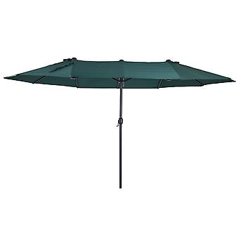 Outsunny 4.6M Outdoor Patio Umbrella Double-sided Crank Canopy Sunshade Green