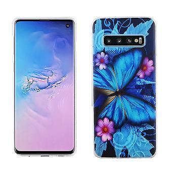 Samsung Galaxy S10 King boutique téléphone portable housse case protection pare-chocs papillon bleu