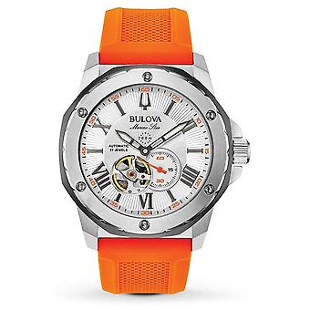 Bulova | Men's | Marine Star | Automatic | Orange Rubber Strap | 98A226 Watch