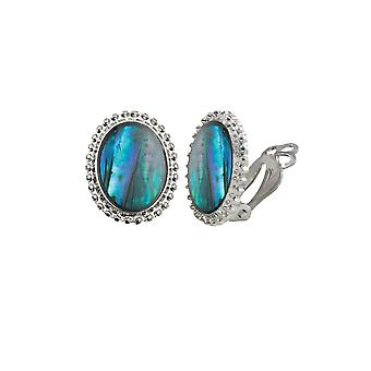 Eternal Collection Tidal Blue Paua Shell Cabochon Silver Tone Stud Clip On Earrings