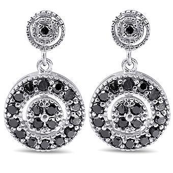 1/2ct Black Diamond Pave Womens Earrings 10K White Gold