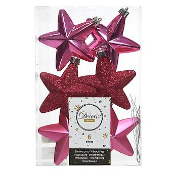 6cm Pink Matt, Foil & Glitter Shatterproof Christmas Star Tree Baubles - 6 Pack