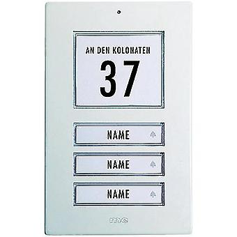 Bell panel backlit, with address field, with nameplate 3x m-e modern-electronics KT 3-AW White 12 V/1 A