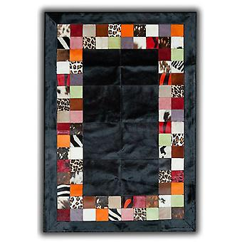Rugs - Patchwork Leather Cubed Cowhide - SR4 Black Multi