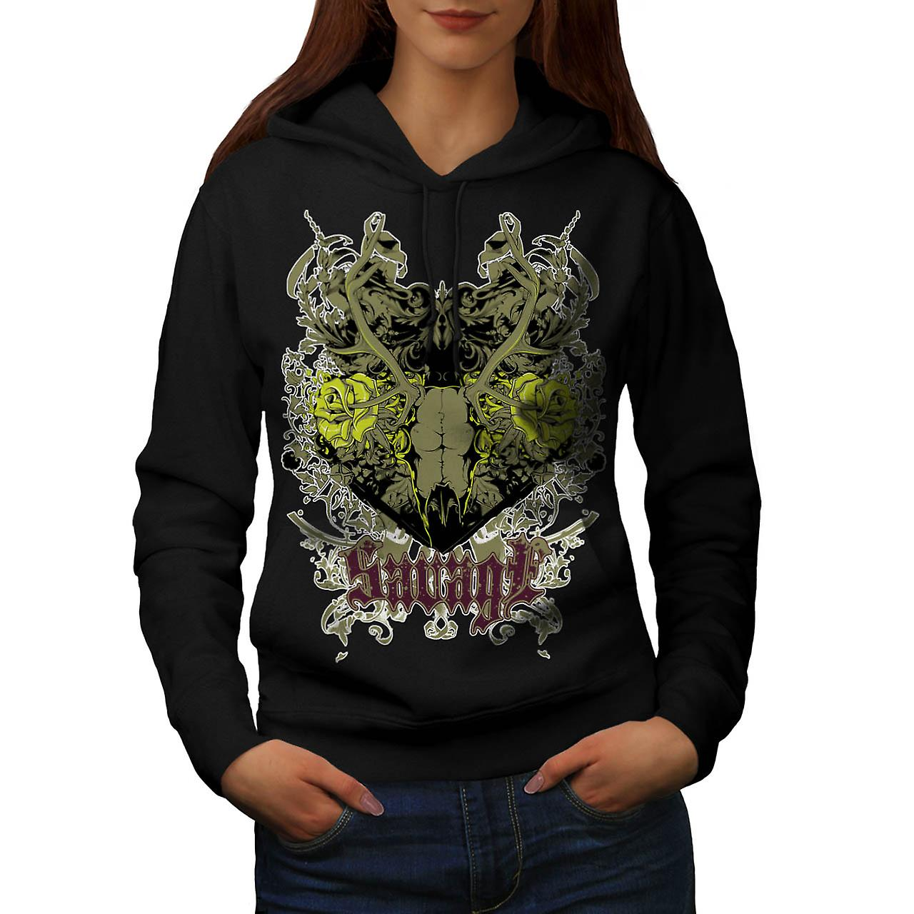 Savage Animal Skull Goat Head Women Black Hoodie | Wellcoda