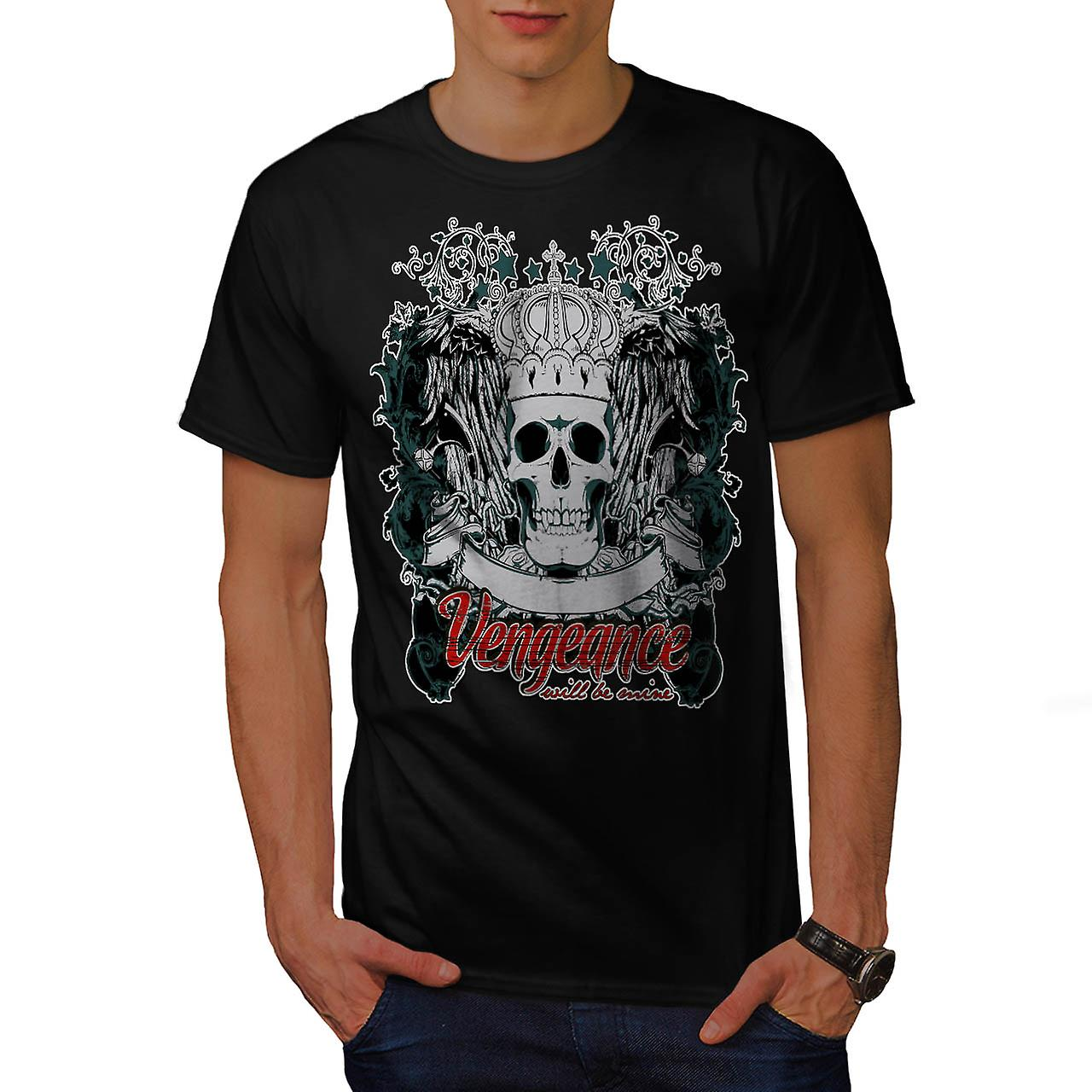 Vengeance Be Mine Skull Men Black T-shirt | Wellcoda