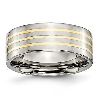 Titanium 14k Gold Inlay 8mm Polished Band Ring - Ring Size: 6 to 13