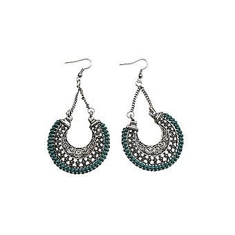 Long moon shaped statement earrings with colored border (multiple colors)