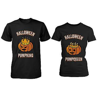 Halloween PumpKing and PumpQueen Matching Couple Shirts Perfect for Horror Night