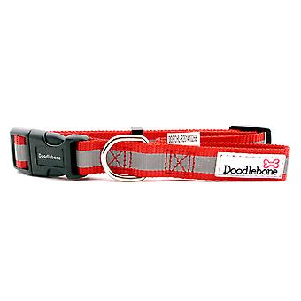 Doodlebone Reflective Bold Tape Collar Red Large 25mm X40-66cm