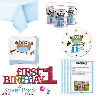 Little Owl Boy 1st Birthday Party Tableware Saver Pack