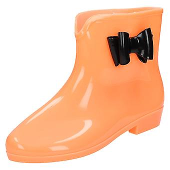 Spot On Flat Ankle Welly / Side Bow / GLOW IN THE DARK