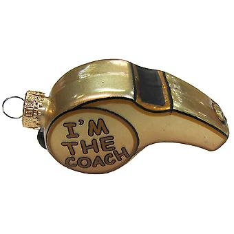 Golden Im The Coach Whistle Christmas Holiday Glass Ornament