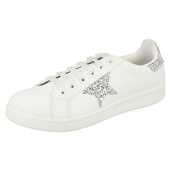 Ladies Spot On Glitter Star Pumps F80269