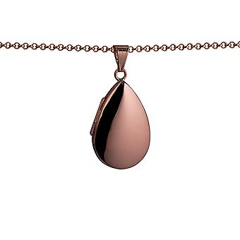 9ct Rose Gold 30x20mm plain teardrop Locket with a belcher Chain 16 inches Only Suitable for Children