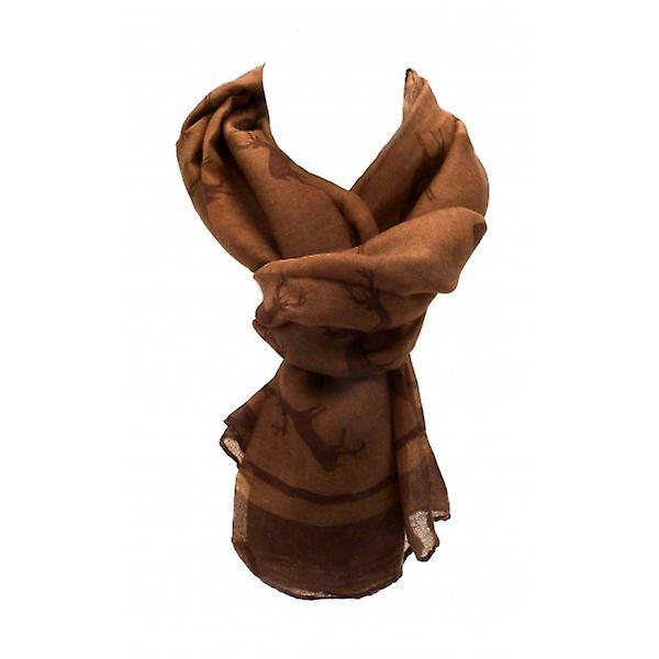 W.A.T Long Soft Tan And Brown Reindeer Scarf