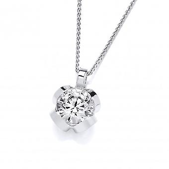 "Cavendish French Silver and CZ pendant with 16 - 18"" Silver Chain"