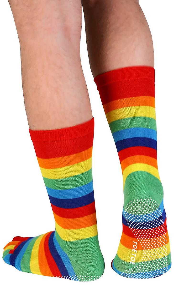 TOETOE Rubber Sole Yoga  Mid Calf Toe Socks - Multi-colour