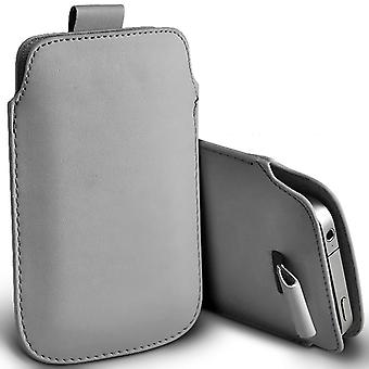 Samsung Galaxy J1 (2016) Slip In Pull Tab Faux Leather Pouch Case Cover (Grey)