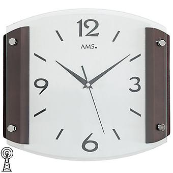 Watch wall clock radio clock radio controlled wall clock wood frame 30 x 26 cm AMS