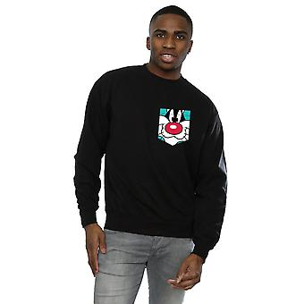 Looney Tunes Men's Sylvester Face Faux Pocket Sweatshirt