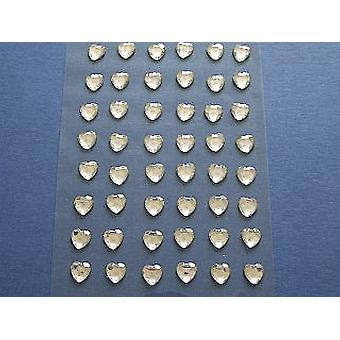 SALE -  48 Clear Self Adhesive Crystal Heart Jewels