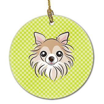 Checkerboard Lime Green Chihuahua Ceramic Ornament