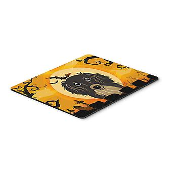 Halloween Longhair Black and Tan Dachshund Mouse Pad, Hot Pad or Trivet