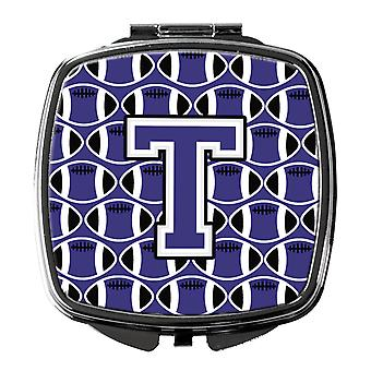 Letter T Football Purple and White Compact Mirror