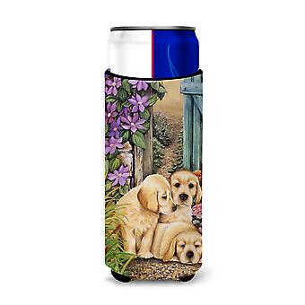Yellow Labrador Puppies by Lesley Hallas Ultra Beverage Insulators for slim cans
