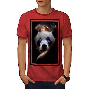 Panda Galaxy Face Animal Men Heather Red / RedRinger T-shirt | Wellcoda