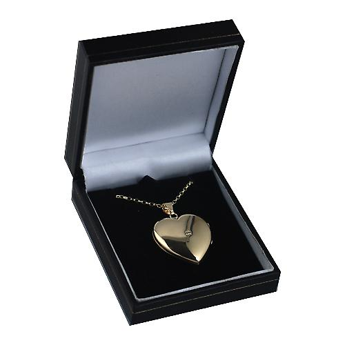 9ct Gold 30x28mm plain heart shaped Locket with belcher Chain 16 inches Only Suitable for Children
