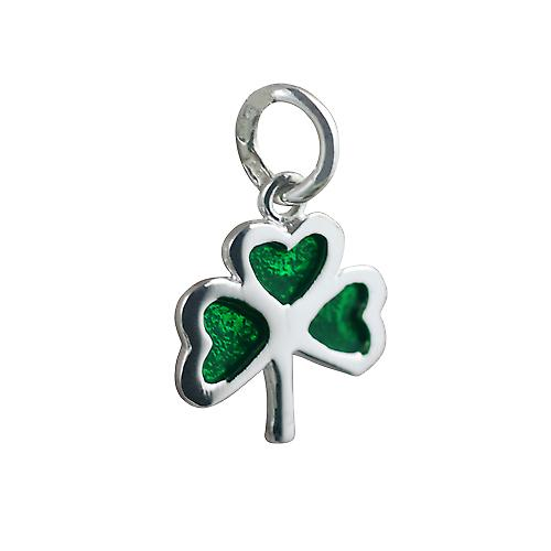 Silver 13x13mm Shamrock with green cold cure enamel Pendant or Charm
