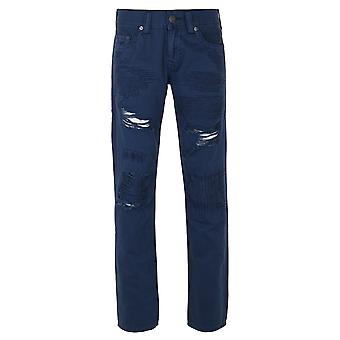 True Religion Indigo Blue Geno Relaxed Slim Fit Cotton Chinos