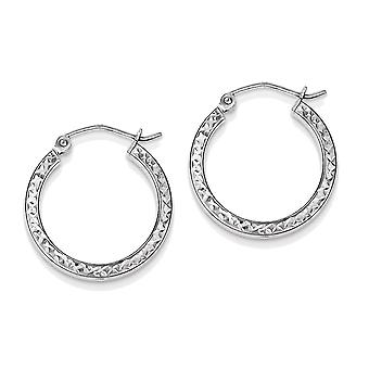 925 Sterling Silver Square Tube Hoop Earrings - 20mm