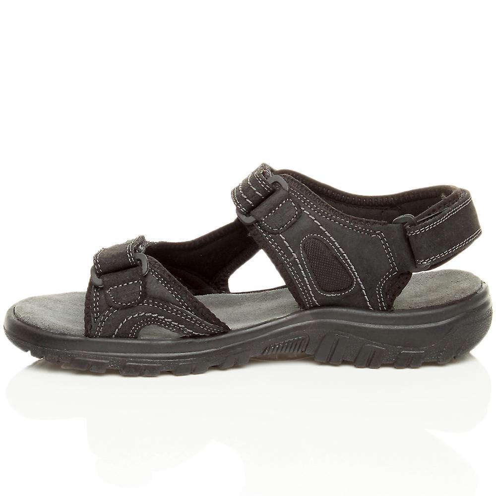 strap summer casual amp; leather genuine flexible sandals mens flat Ajvani loop flat low heel hook CTpawqnx
