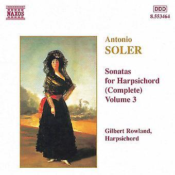 A. ソレル ・ ソレル: ソナタ チェンバロ (完全な)、Vol. 3 [CD] USA 輸入
