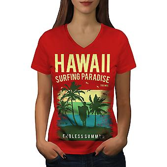 Hawaii Surf Paradise Frauen RedV-Neck T-shirt   Wellcoda