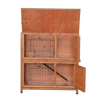 Charles Bentley Two Storey Outdoor Rabbit Hutch Guinea Pig Bunny House With Ramp