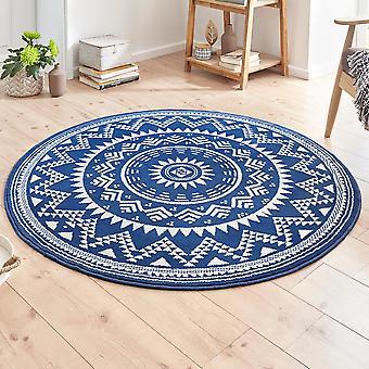 Designer velour carpet Valencia blue cream round