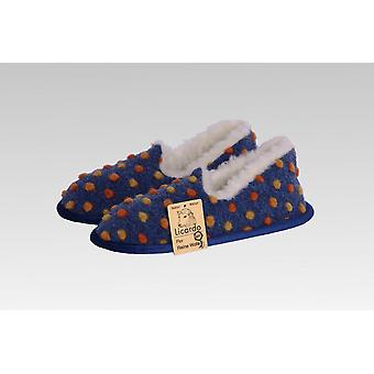 Moccasin wool dots blue 36/37
