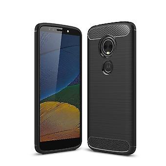 Motorola Moto G6 Play TPU Case Carbon Fiber Optik Brushed Schutz Hülle Schwarz
