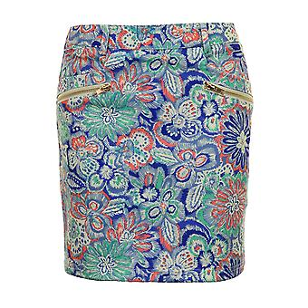 Ladies A-Line Paisely Floral Print Gold Zip Back Women's Short Mini Party Skirt